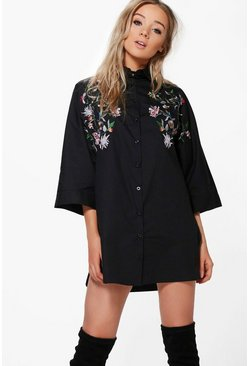 Cait Embroidered Wide Sleeve Shirt Dress
