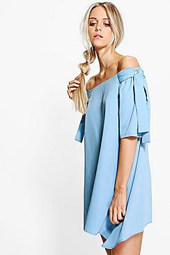 Teresa Off Shoulder Tie Sleeve Shift Dress