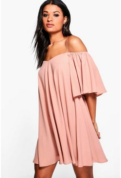 Minnie Cold Shoulder Strap Front Swing Dress