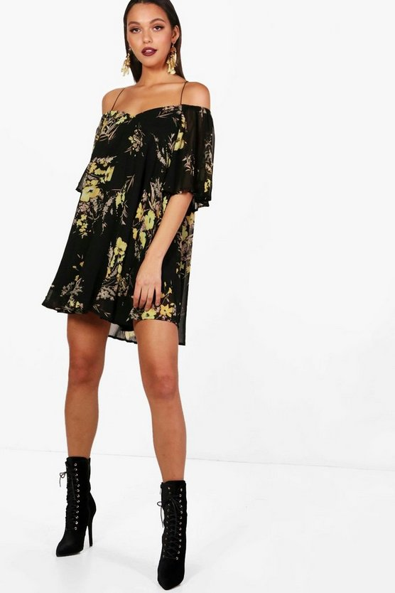Cold Shoulder Cross Front Swing Dress