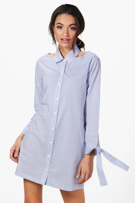 Choker Collar Stripe Shirt Dress  blue