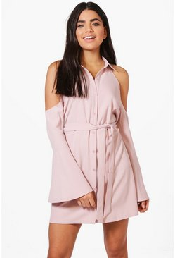 Hana Cold Shoulder Flute Sleeve Shirt Dress