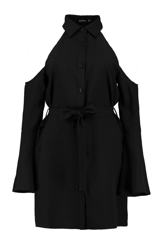 NEW-Boohoo-Womens-Hana-Cold-Shoulder-Flute-Sleeve-Shirt-Dress-in-Polyester