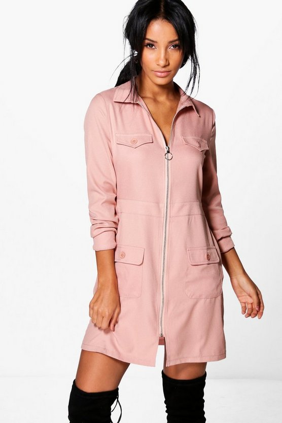 Alberta Utility Zip Front Pocket Shift Dress