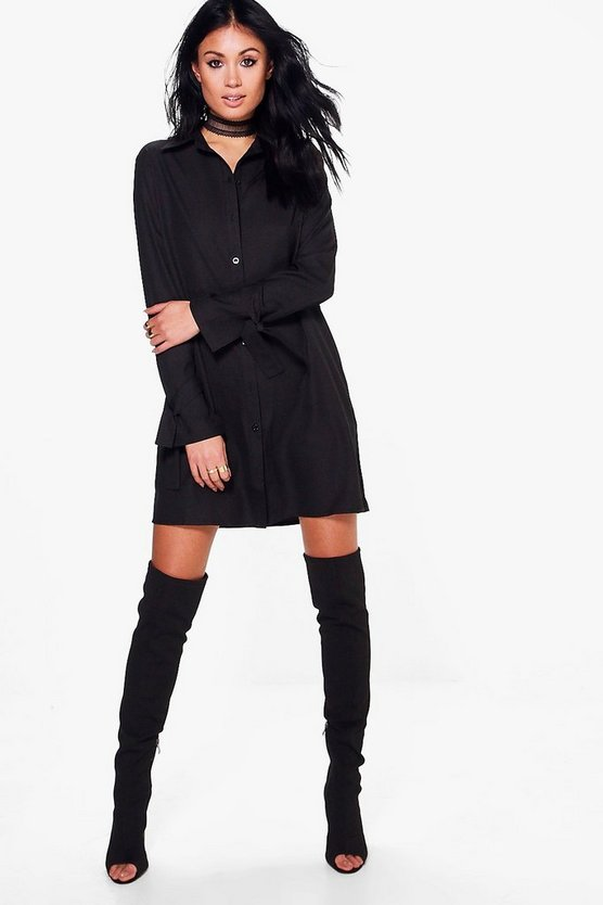 Adelheid Tie Sleeve Shirt Dress