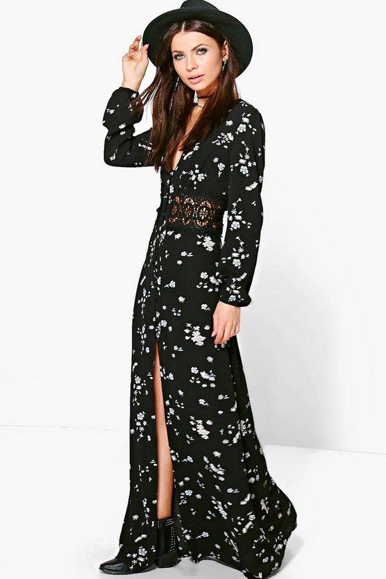 Pandora Floral Crochet Waist Maxi Dress   Boohoo