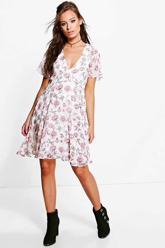 Monique Floral Printed Tea Dress