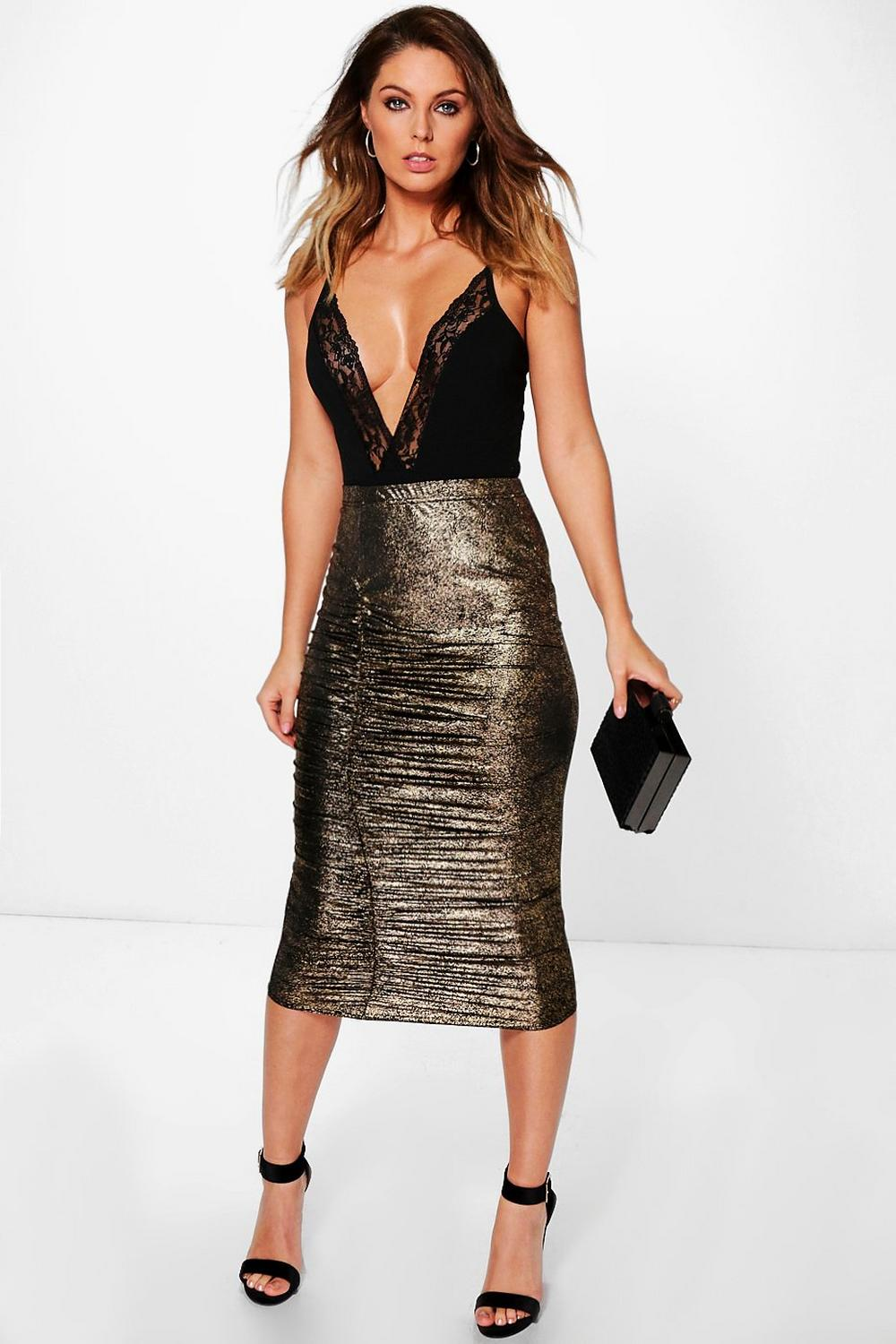 Bahati Rouched Side Metallic Fleck Midi Skirt