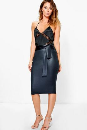 Amerie Wet Look Tie Waist Midi Skirt