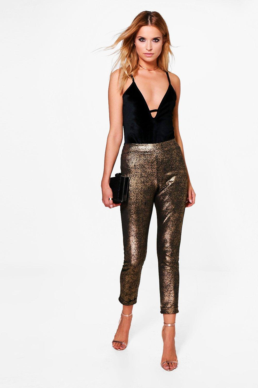 Naya Metallic Turn Up Stretch Skinny Trousers