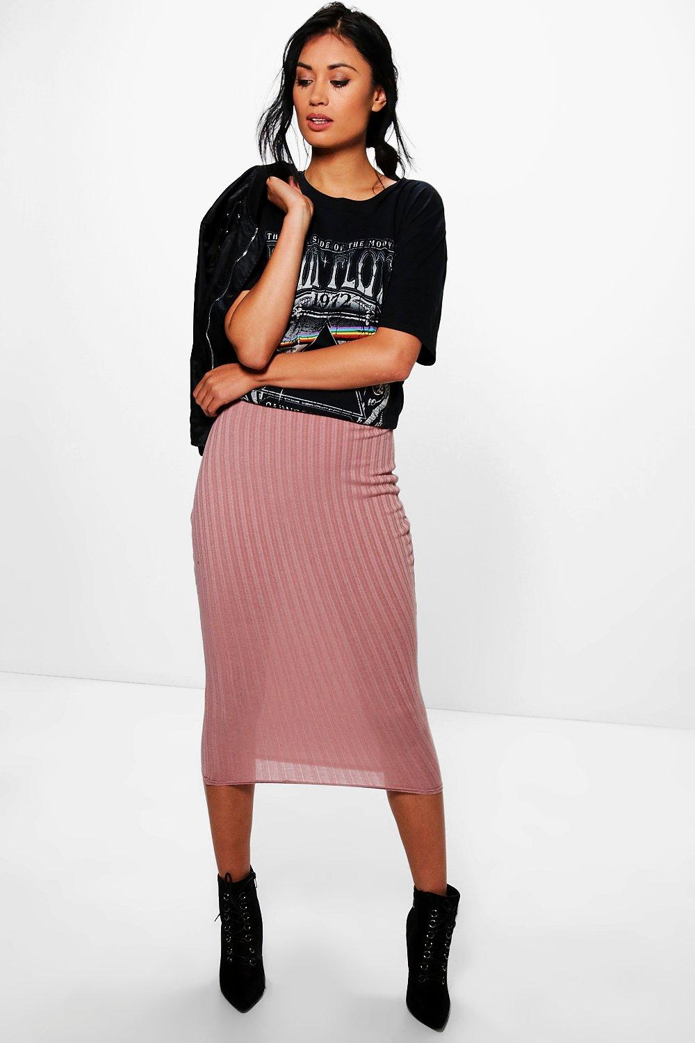 Oriana Soft Knit Longer Line Midi Skirt