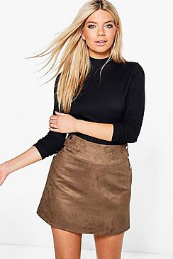 Brooke Stud Side Suedette Mini Skirt