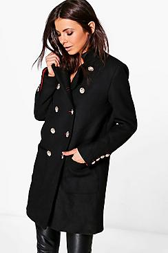 Erin Boutique Double Breasted Military Wool Coat