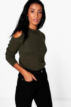 Felicity Cold Shoulder Rib Detail Jumper