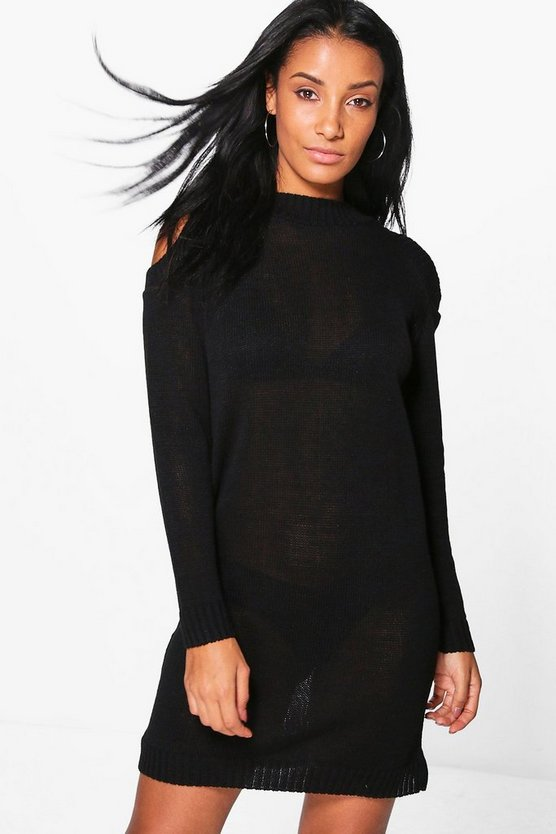 Jemma Cold Shoulder Rib Cuff Jumper Dress