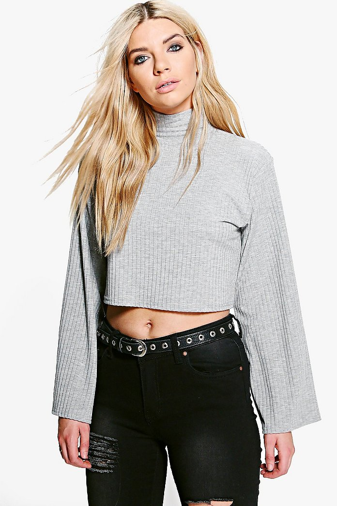 Lanie High Neck Wide Sleeve Rib Top
