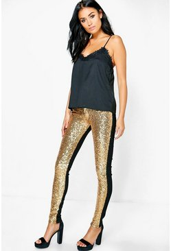 Alexi Sequin Front Super Skinny Trousers