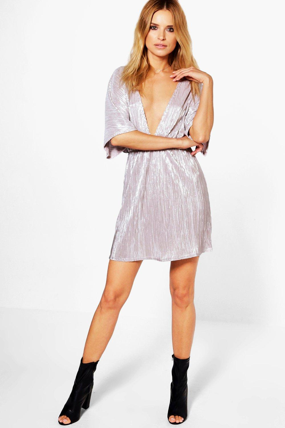 Una Metallic Plunge Pleat Kimono Bodycon Dress