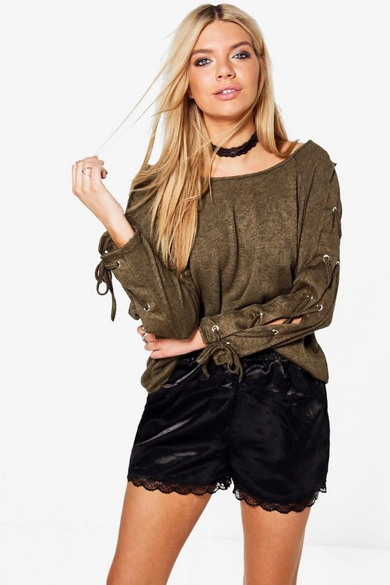Faye Lace Up Sleeve Jumper