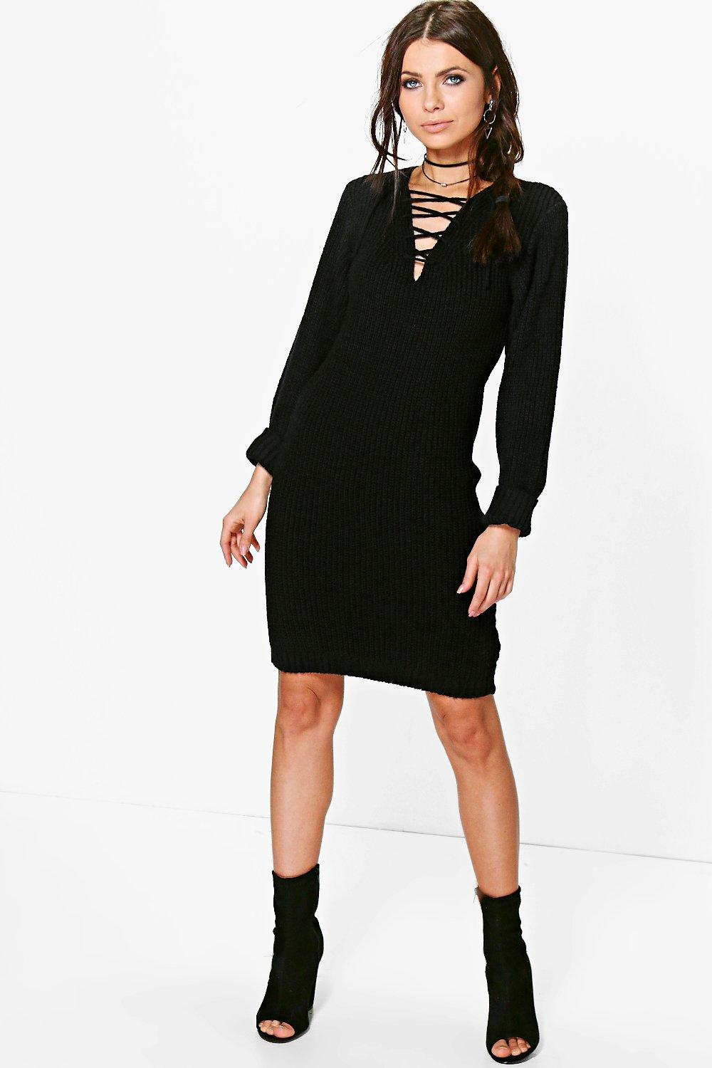 Amy Lace Up Soft Knit Jumper Dress
