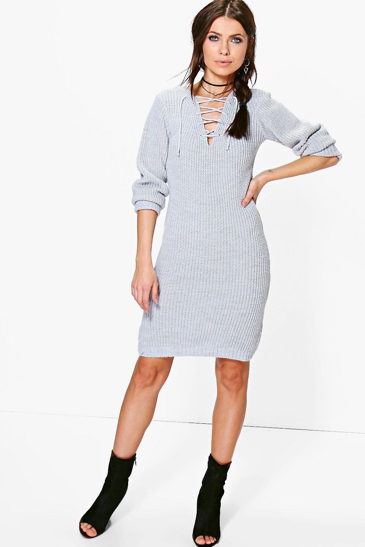 Lace Up Soft Knit Jumper Dress  silver