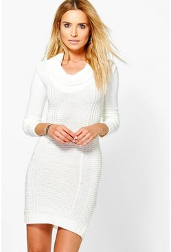 Anna Turtle Neck Contrast Jumper Dress