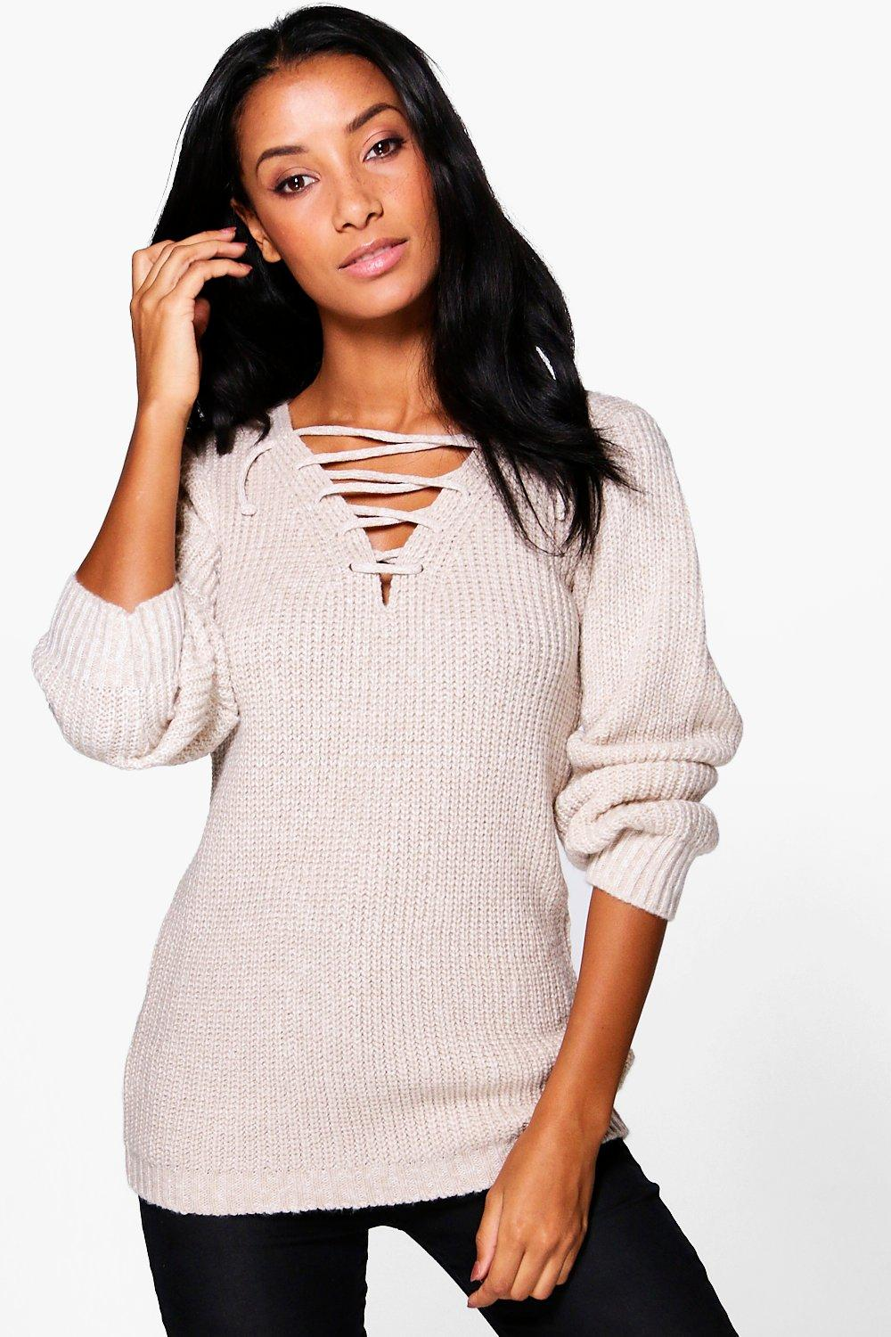 Hallie Lace Front Soft Knit Jumper