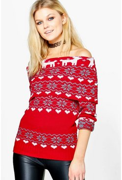 Belle Reindeer Fairisle Christmas Jumper