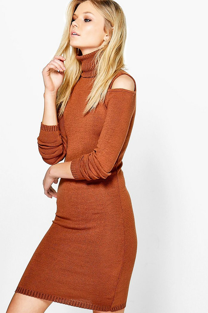 Jo Cold Shoulder Roll Neck Jumper Dress