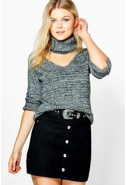 Kate Marl Chunky Choker Soft Knit Jumper