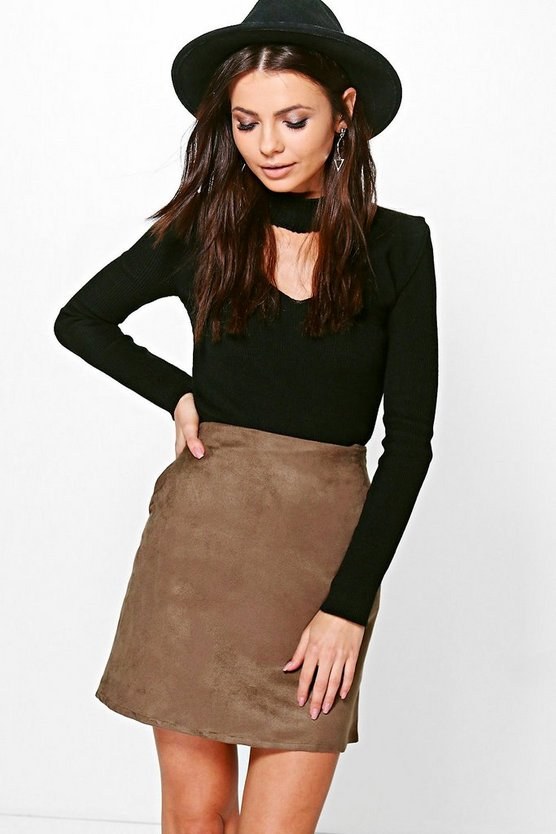 Pocket Side Suedette Mini Skirt