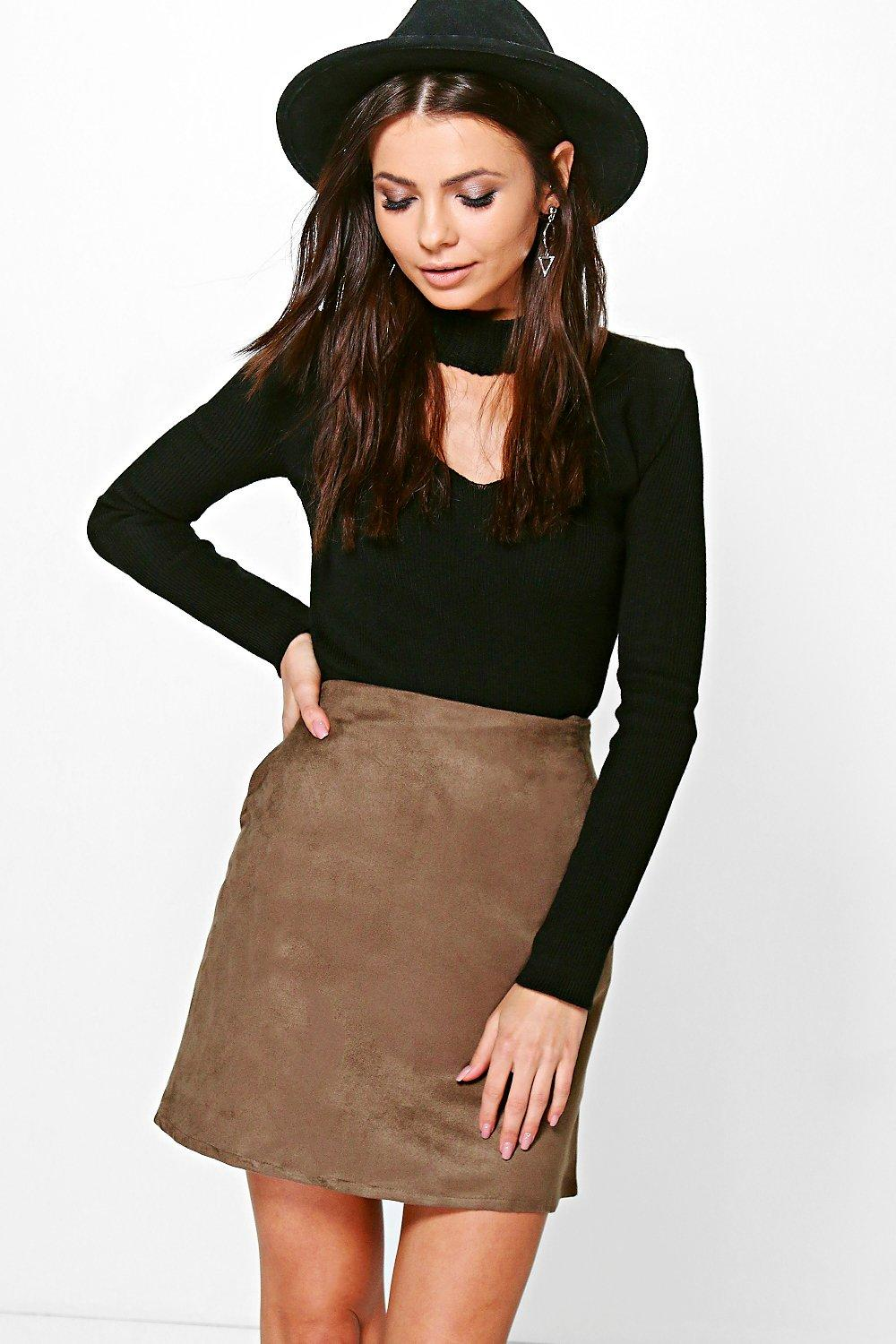 Ella Pocket Side Suedette Mini Skirt