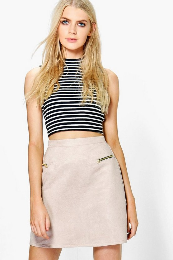 Adrianna Zip Front Suedette Mini Skirt