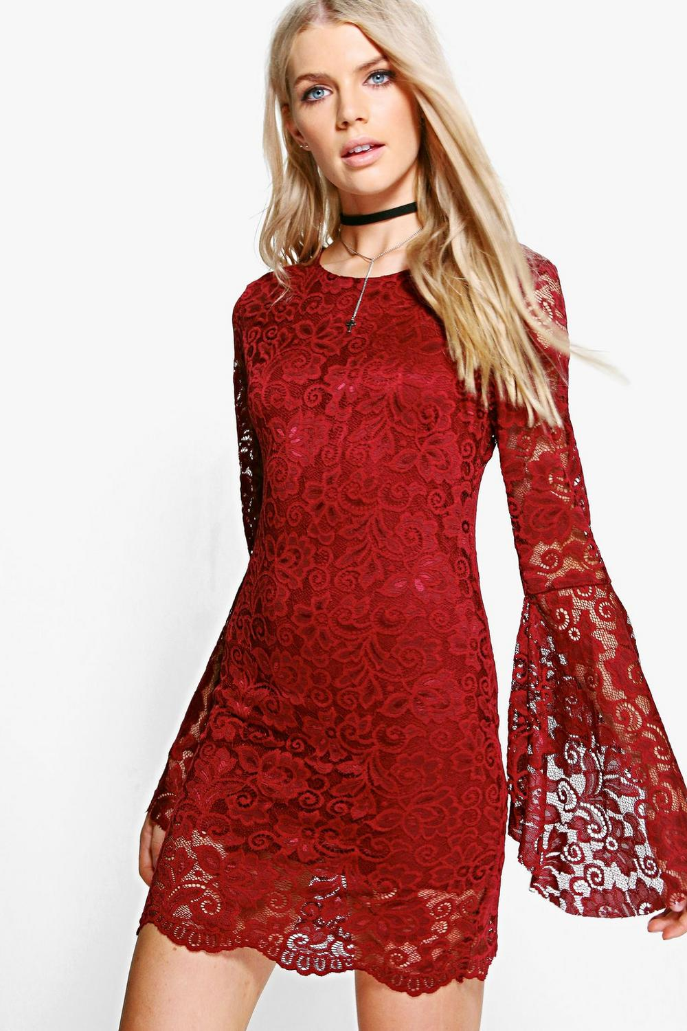 Ruby Flare Sleeve Lace Shift Dress