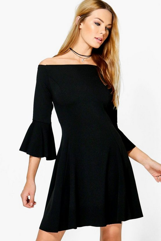 Freyja Flare Sleeve Off Shoulder Shift Dress