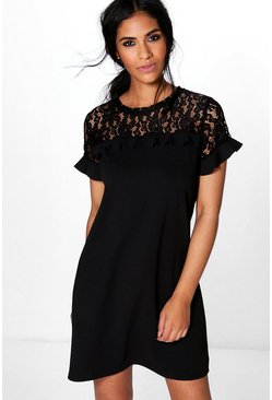 Rezy Lace Ruffle Shift Dress