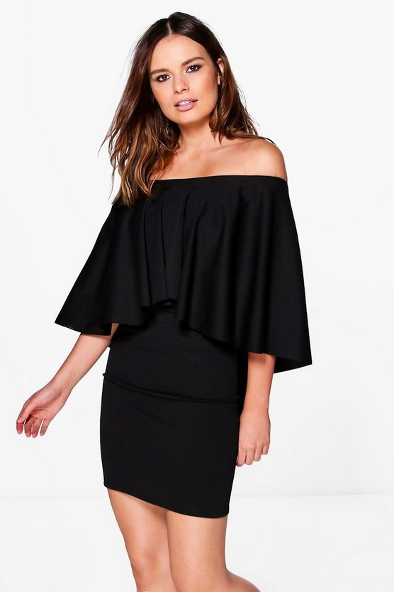 Reeva Short Sleeve Cape Detail Shift Dress