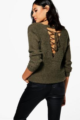 Sophie Lace Up Back Eyelash Jumper