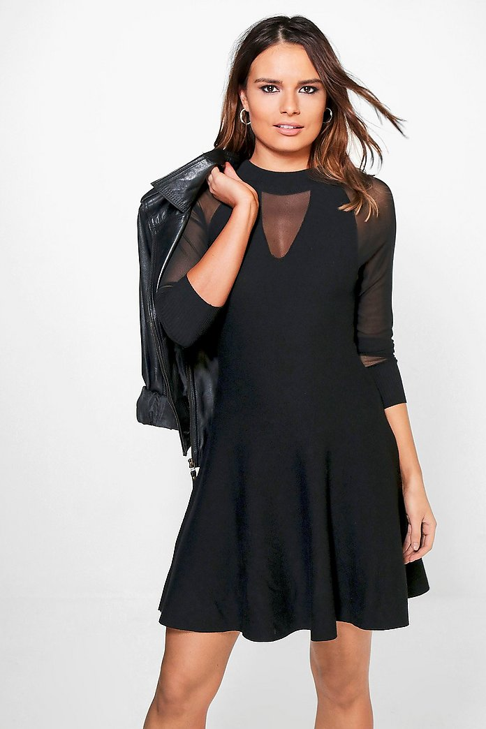 Grace Mesh Sleeve Knit Skater Dress