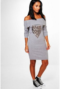 Evie Sequin Heart Bardot Jumper Dress