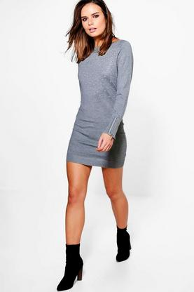 Daisy Studded Zip Sleeve Jumper Dress