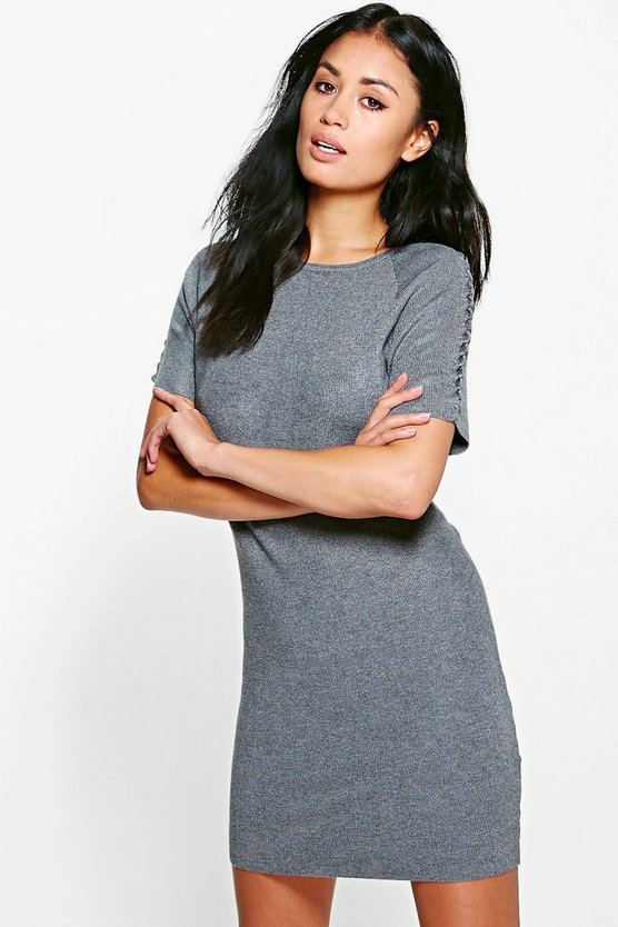 Megan Lace Up Sleeve Jumper Dress