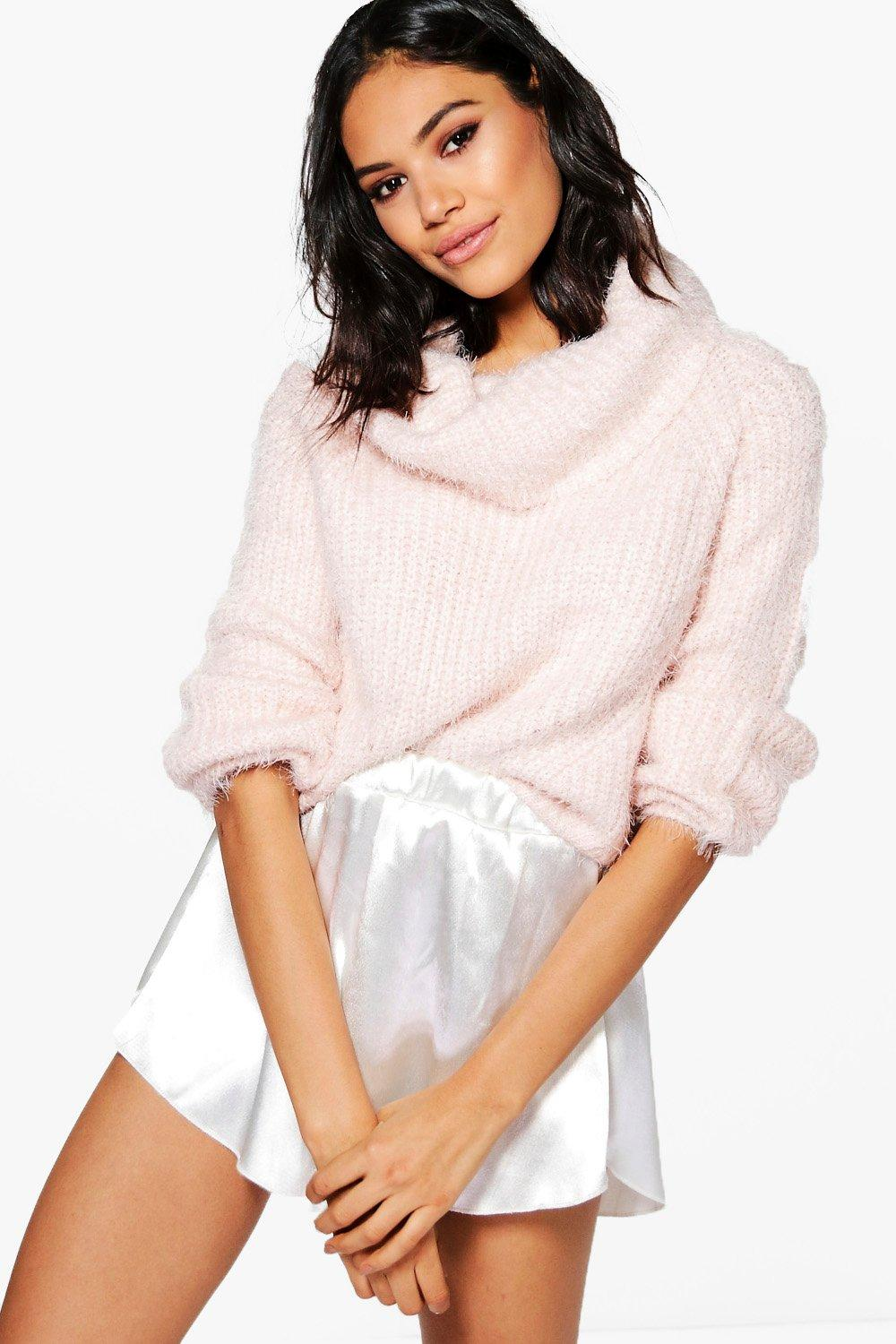 Florence Soft Knit Roll Neck Crop Jumper