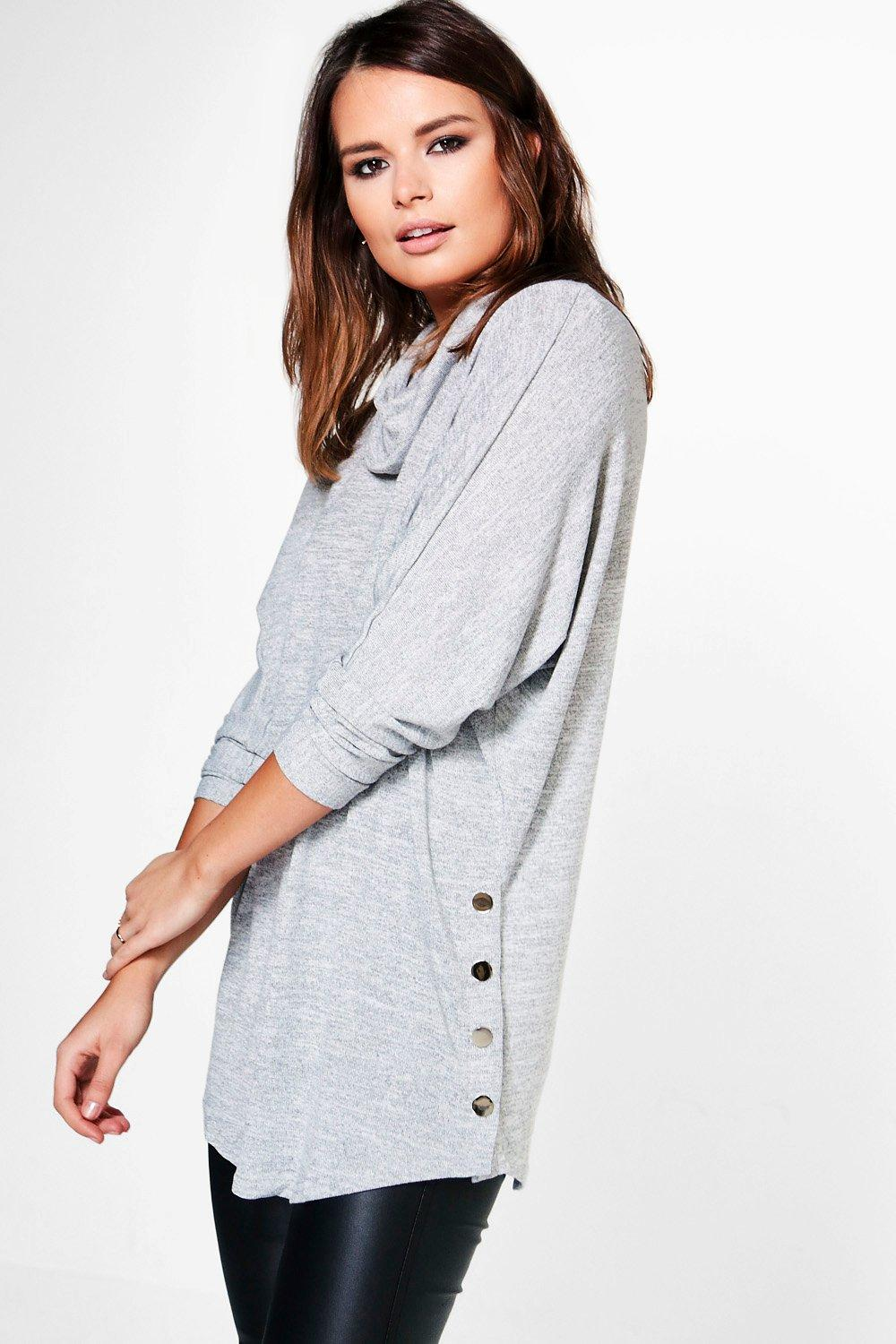 Hannah Cowl Neck Button Detail Oversized Jumper