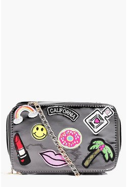 Nancy Mirror Badge Detail Cross Body Bag
