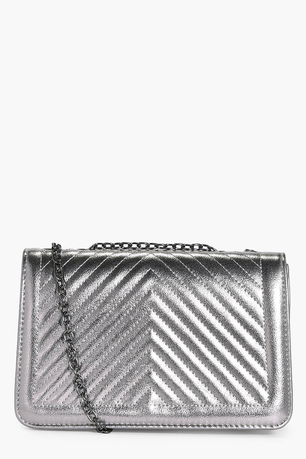 Quilted Metallic Cross Body Bag - pewter - Laura Q
