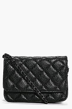 Darcey Quilted Chain Strap Cross Body Bag