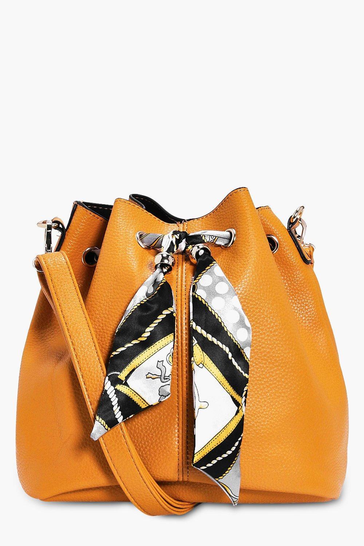 Scarf Detail Duffle Bag - mustard - India Scarf De