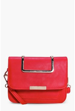 Serena Metal Handle Structured Cross Body Bag