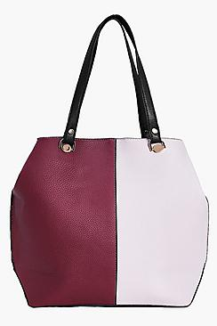 Ivy Colour Block Metal Trim Oversize Day Bag
